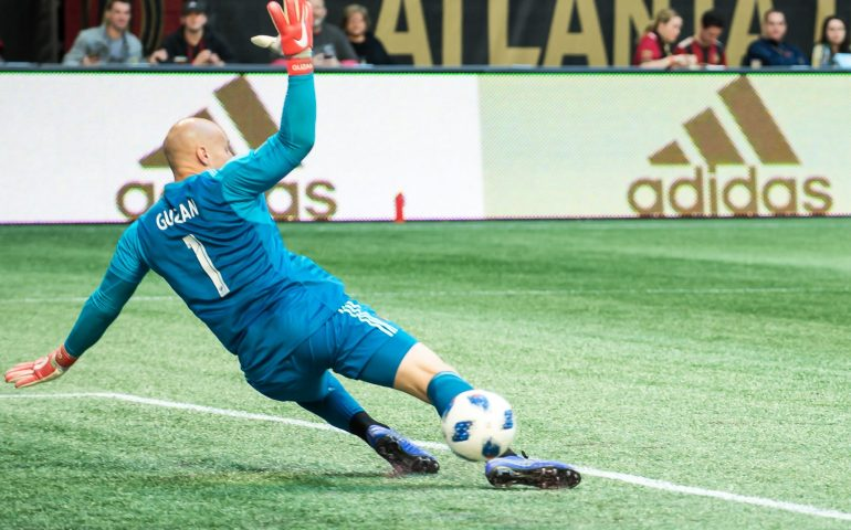 Brad Guzman Atlanta United Goalie blocks a kick