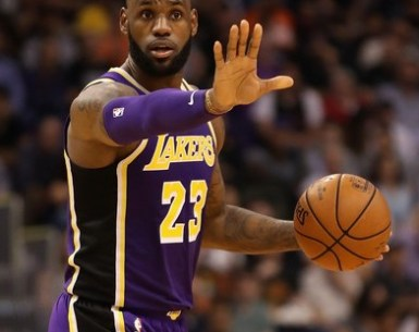 Lebron James taking charging during NBA Action by directing players on the court #Lakers, #NBA, #LebronJames