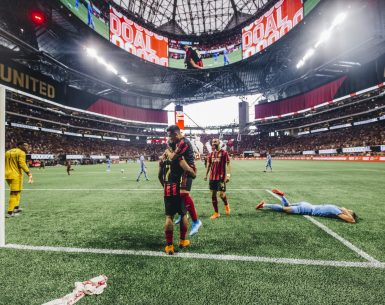 Ezequiel Barco hugs teammate Josef Martinez Sunday afternoon after Josef scores during the 10th match in a row. #sports #soccer #mlssoccer #atlantaunited