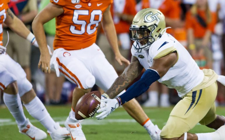 Georgia Tech punt returner Jalen Camp muffs a punt against Clemson that contributed to the 52- 14 loss #togetherweswarm, #404theculture, #clemson, #tigers,