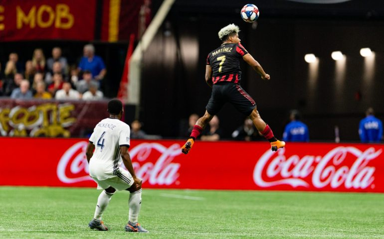 Josef Martinez jumps into the air in a game against Philadelphia Union in the Eastern Conference Semifinals