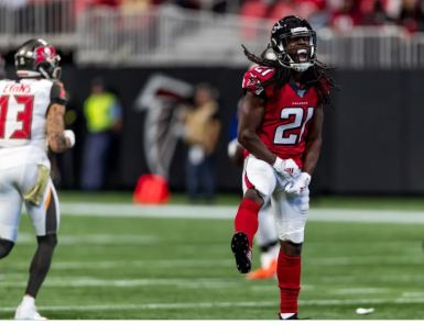 Desmond Truefant celebrates his interception #NFL, #dirtybirds, #falcons, #inbrotherhood, #atlantafalcons, #ATL, #ASN #nfc, #nfcsouth