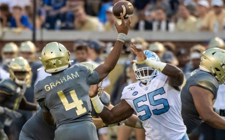 Georgia Tech QB James Graham throws a pass against UNC Tarheels #togetherweswarm, #404theculture, #yellowjackets, #Georgiatech
