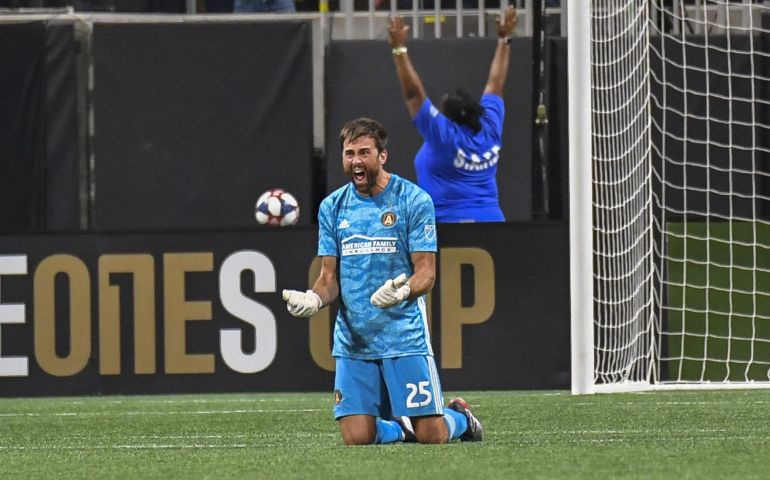 Alec Kann celebrates Atlanta United's win in Campeones Cup vs. Club America
