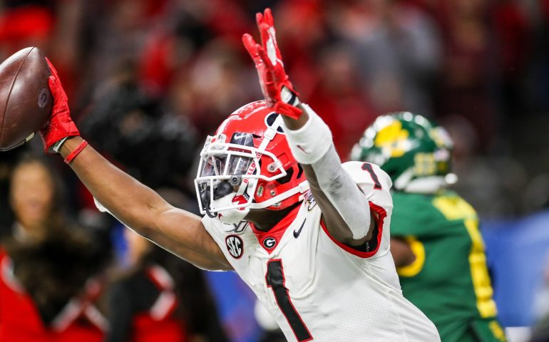 George Pickens celebrates after a touchdown catch in the 2020 Sugar Bowl versus Baylor #UGA, #SECFOOTBALL,