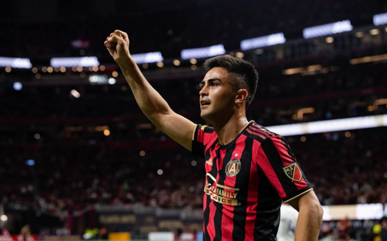 Atlanta United midfielder Gonzalo Pity Martinez #10 celebrates after Atlanta United's first goal of the first half of the 2020 home opener against FC Cincinnati at Mercedes-Benz Stadium in Atlanta, Georgia, on Saturday March 7, 2020. (Photo by Jacob Gonzalez/Atlanta United)