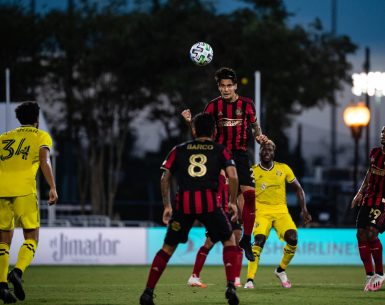 Atlanta United defender Franco Escobar #2 heads the ball during the first half of the third group stage match in group E against the Columbus Crew at the MLS is Back Tournament at ESPN Wide World of Sports Complex in Orlando, Florida, on Tuesday July 21, 2020. The MLS is Back Tournament is the resumption of Major League Soccer's 25th season after a three-month postponement during the Covid-19 pandemic. (Photo by Jacob Gonzalez/Atlanta United)