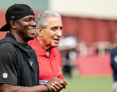 #falcons, #Dirtybirds, #ATL, Raheem Morris with team owner Arthur Blank