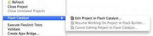 Selecting Edit Project In Flash Catalyst from within Flash Builder