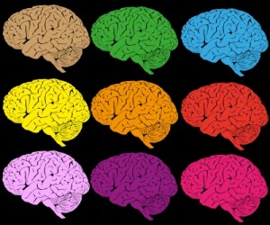 Different coloured brains to visualise changing to a more constructive performance mindset.