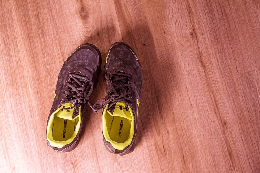 Can changing language help with habit formation, like putting running shoes like these near your bed?
