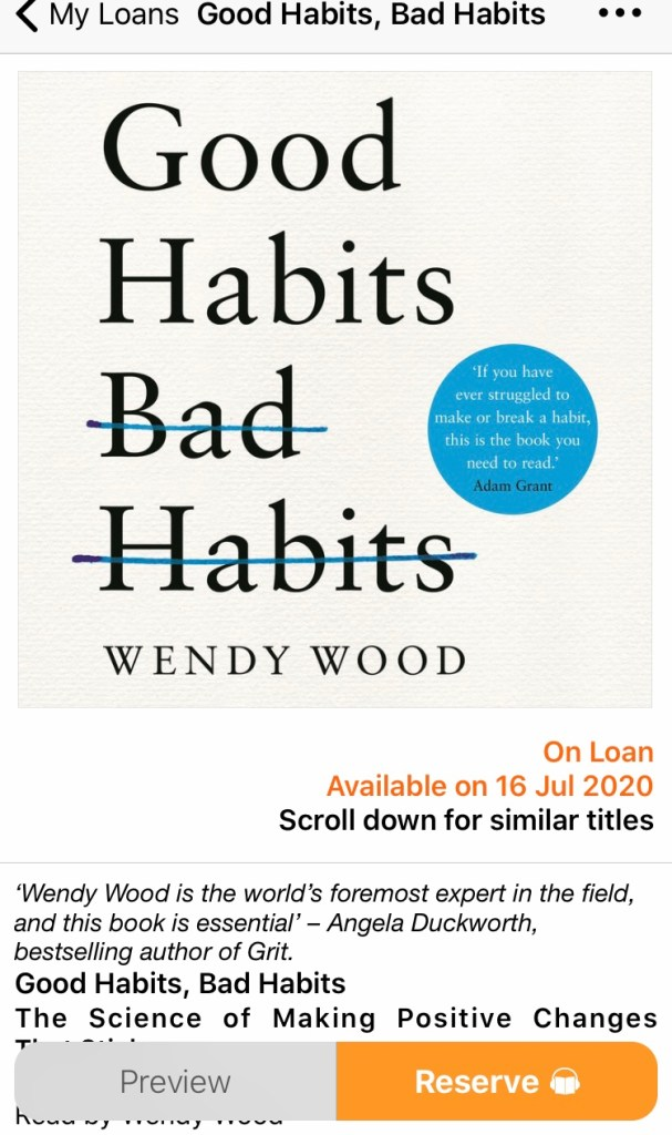 A picture of the audiobook Good Habits Bad Habits by Wendy Wood - a way to break habits?