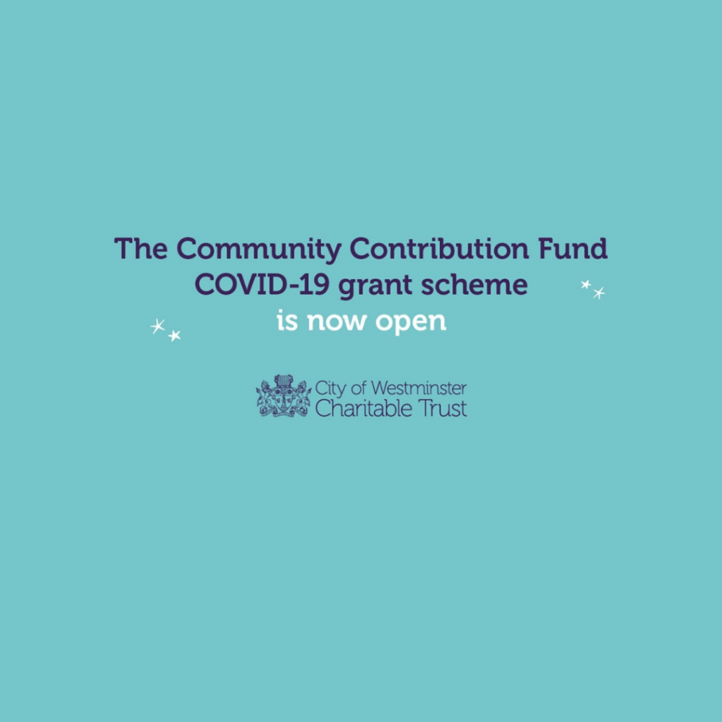 Title graphic reads: The community contribution fund COVID-19 grant scheme