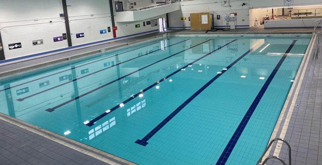 Large leisure centre main swimming pool