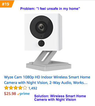 Image of a security camera - Example of how a product can solve a problem