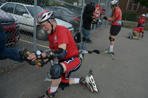 the three rivers inline club skates through the streets of pittsburgh pennsylvania