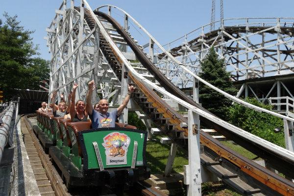 people ride the jack rabbit at kennywood amusement park in pittsburgh pennsylvania