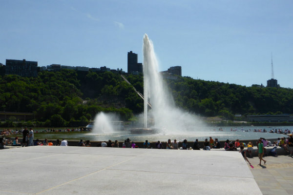 mt washington overlooking the fountain at point state park in pittsburgh pennsylvania
