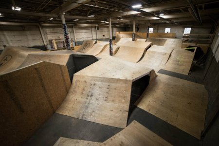 a warehouse full of ramps and trails at the wheel mill