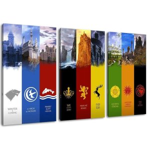 Game of Thrones Houses 3 Piece Canvas