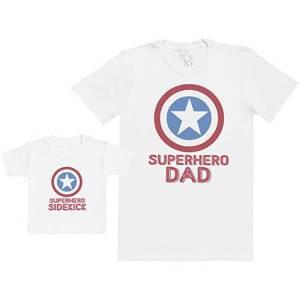 Superhero Dad Superhero Sidekick T-Shirt Set White