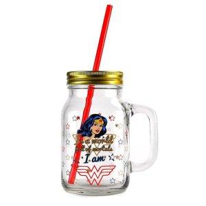 Wonder Woman Mason Glass Jar
