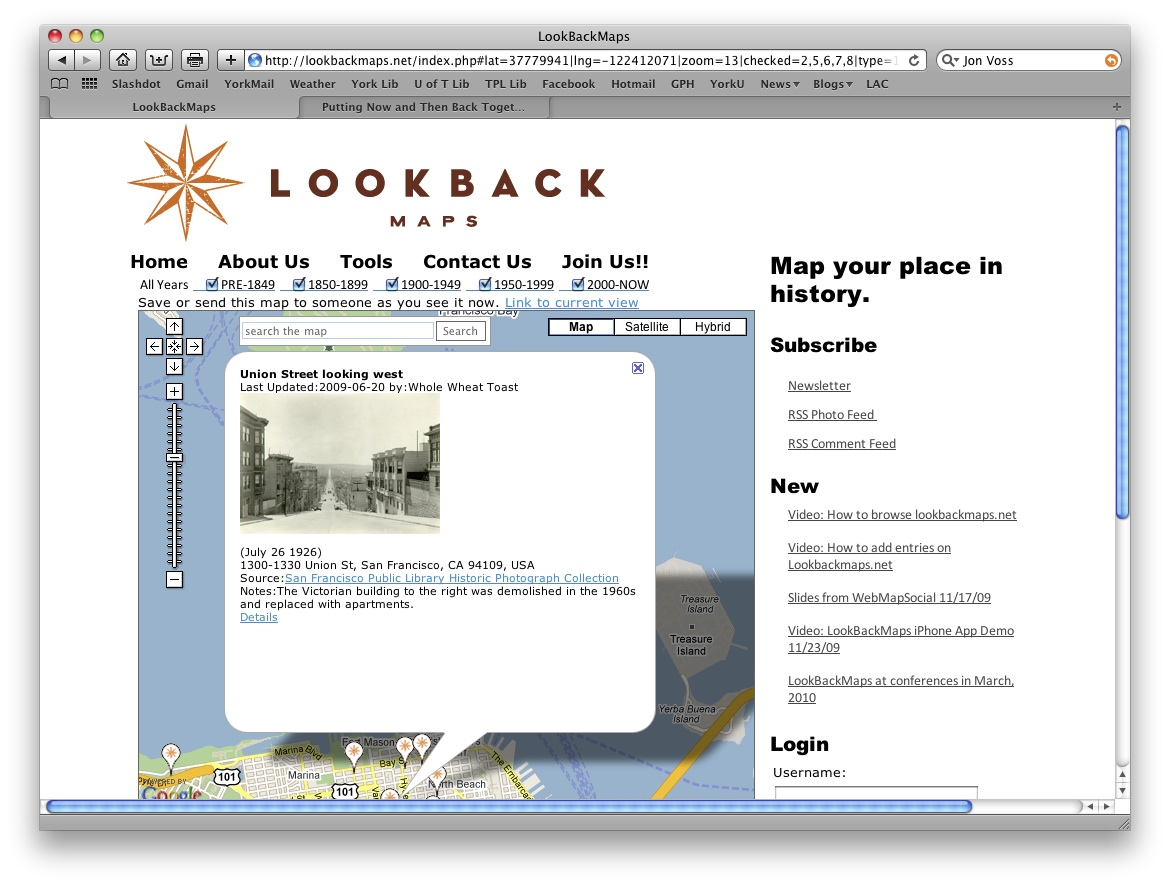 A screenshot from lookbackmaps