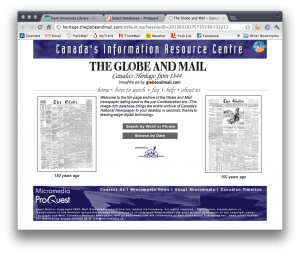 "The splash page for the Globe and Mail's ""Canada's Heritage Since 1844"" website."