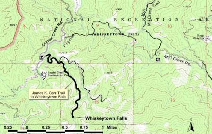 Whiskeytown Falls Map