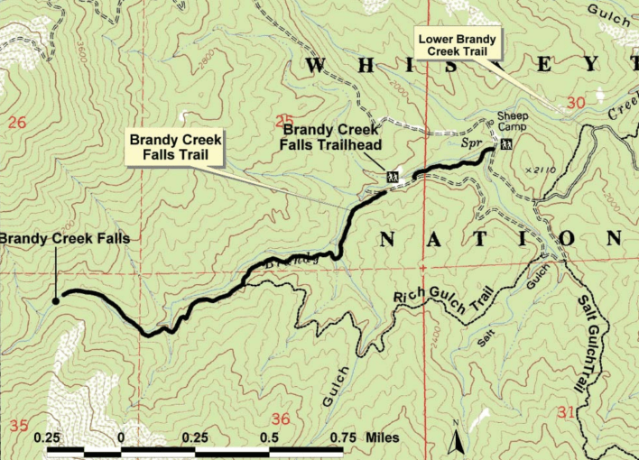 Brandy Creek Falls Trail Map