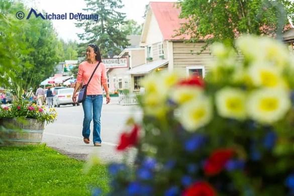 strolling in downtown Talkeetna, Alaska near the famous Roadhouse Inn.