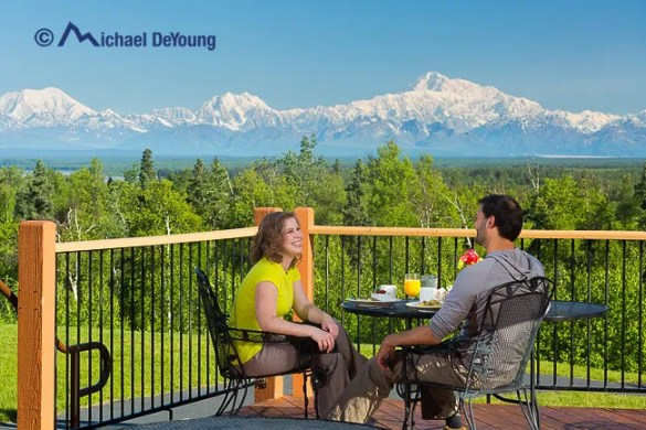 Breakfast with a view!  At the Talkeetna Alaskan Lodge with views of the Alaska Range including Denali, Mt. Hunter and Mt. Foraker.