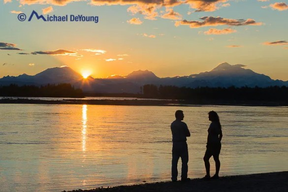 Lauri and Rich Crain on a pleasant sunset at 11:50pm along the banks of the Susitna River, Talkeetna, Alaska