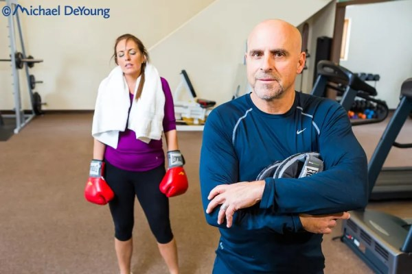 Fitness training, Taos, New Mexico, trainer with female client doing boxing/cardio training