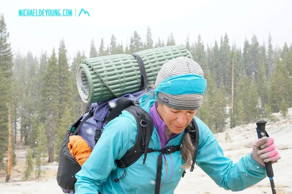 After a frigid mid 20s morning with frozen water bottles and fingers, we hiked most of the day to Tuolumne Meadows in beautiful soft, orographically enhanced stratiform snow.  Around lunch time, the snow started sticking to the ground.