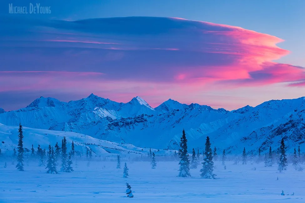 Alaska Winter Landscape - Lenticular clouds at sunset near Tahneta Pass, Alaska by Michael DeYoung
