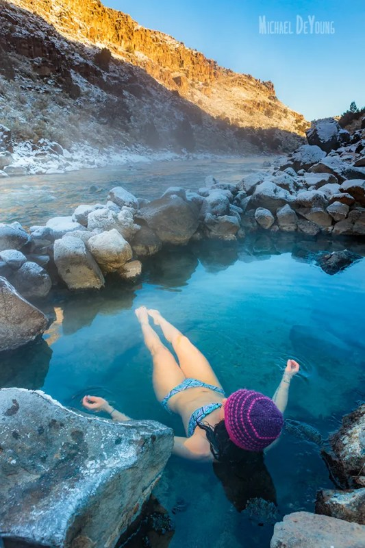 New Mexico lifestyle - Soaking in Manby Hot Springs on a crisp day by Michael DeYoung