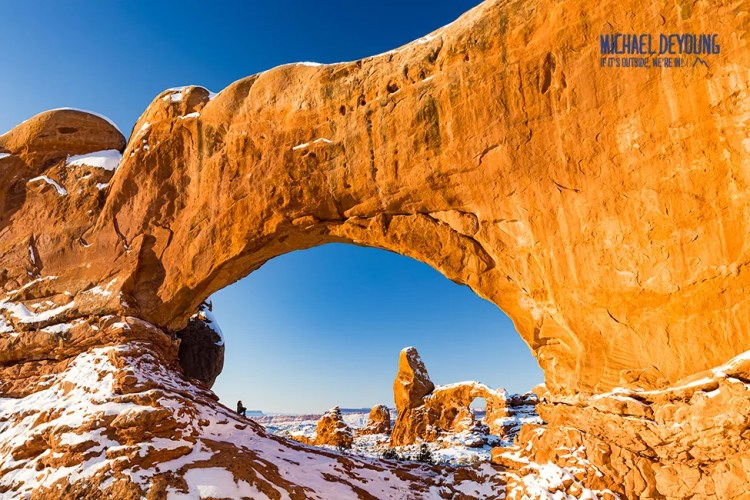 Turret Arch Framed Thru South Window Arch - Arches National Park, UT