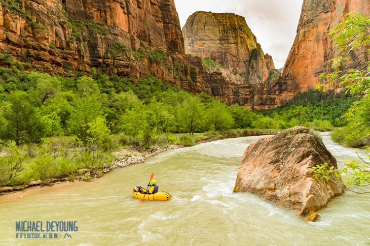 Packrafting the Virgin River through Zion Canyon. Zion National Park, Utah