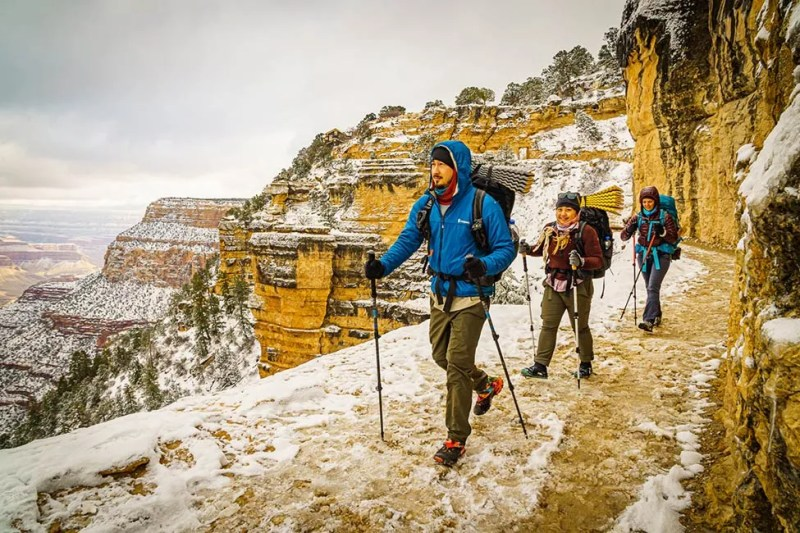 Hikers descend Bright Angel Trail for a winter backpacking trip in the Grand Canyon. Photo © Michael DeYoung