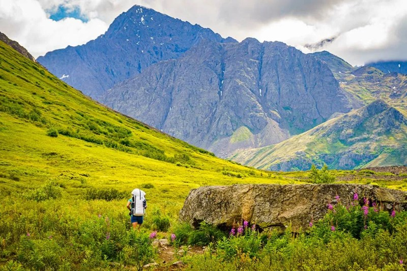 Hiking toward the outlet of South Fork of Eagle River, Alaska. Photo © Michael DeYoung