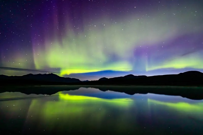 Aurora borealis (or Northern Lights) reflecting in an unnamed pond along Denali Highway. © Michael DeYoung