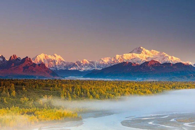 South view of Denali and Mt. Hunter from roadside pullout. Alaska Private Tour. © Michael DeYoung
