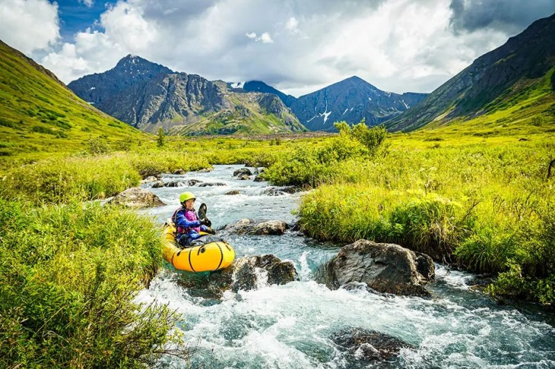 Pack rafting the tight and technical South Fork of Eagle River, Alaska. Photo © Michael DeYoung