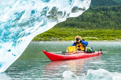 Guided kayak touring excursion for intimate iceberg photography © Michael DeYoung