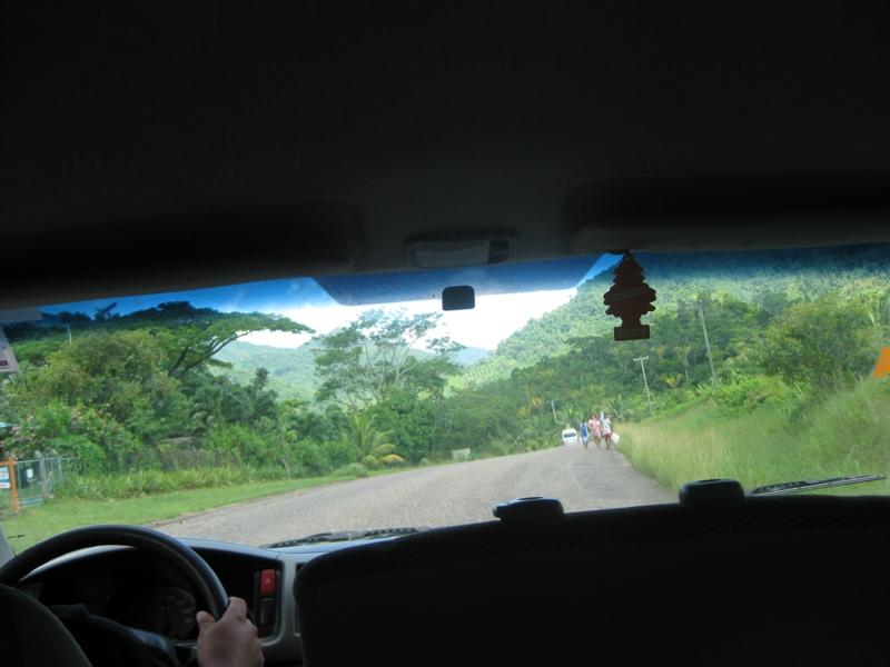 van ride to mayan ruins