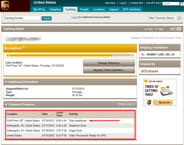 Surprise update with UPS tracking service
