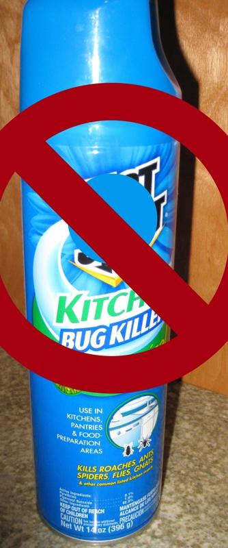 No Aerosol sprays & chemical pesticides.