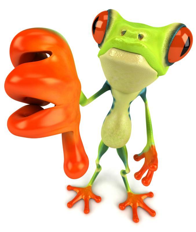Thumbs down frog