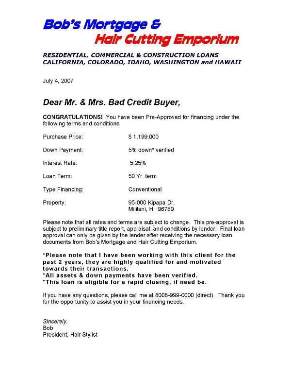 Pre Approval Letter  Docoments Ojazlink